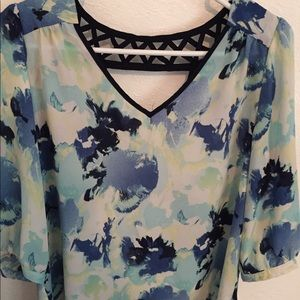 Blue Floral 3/4 Sleeve Top